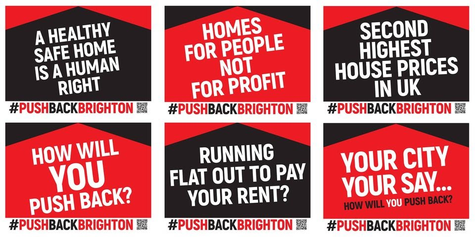 "Red and black signs with the caption ""Homes for people not for profit"" and ""running flat out to pay your rent?"""