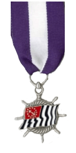 USPS Finley Sea Scout Service Award (medal hanging from a blue - white - blue ribbon