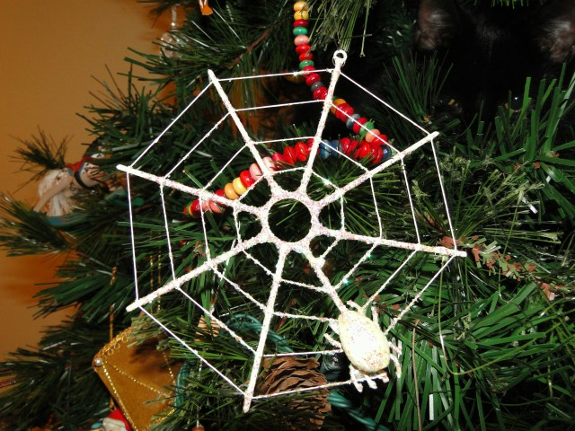 Spider web Christmas ornament with seashell spider