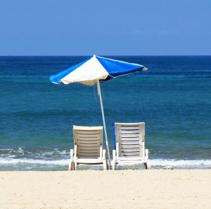 chairs and umbrella at the beach