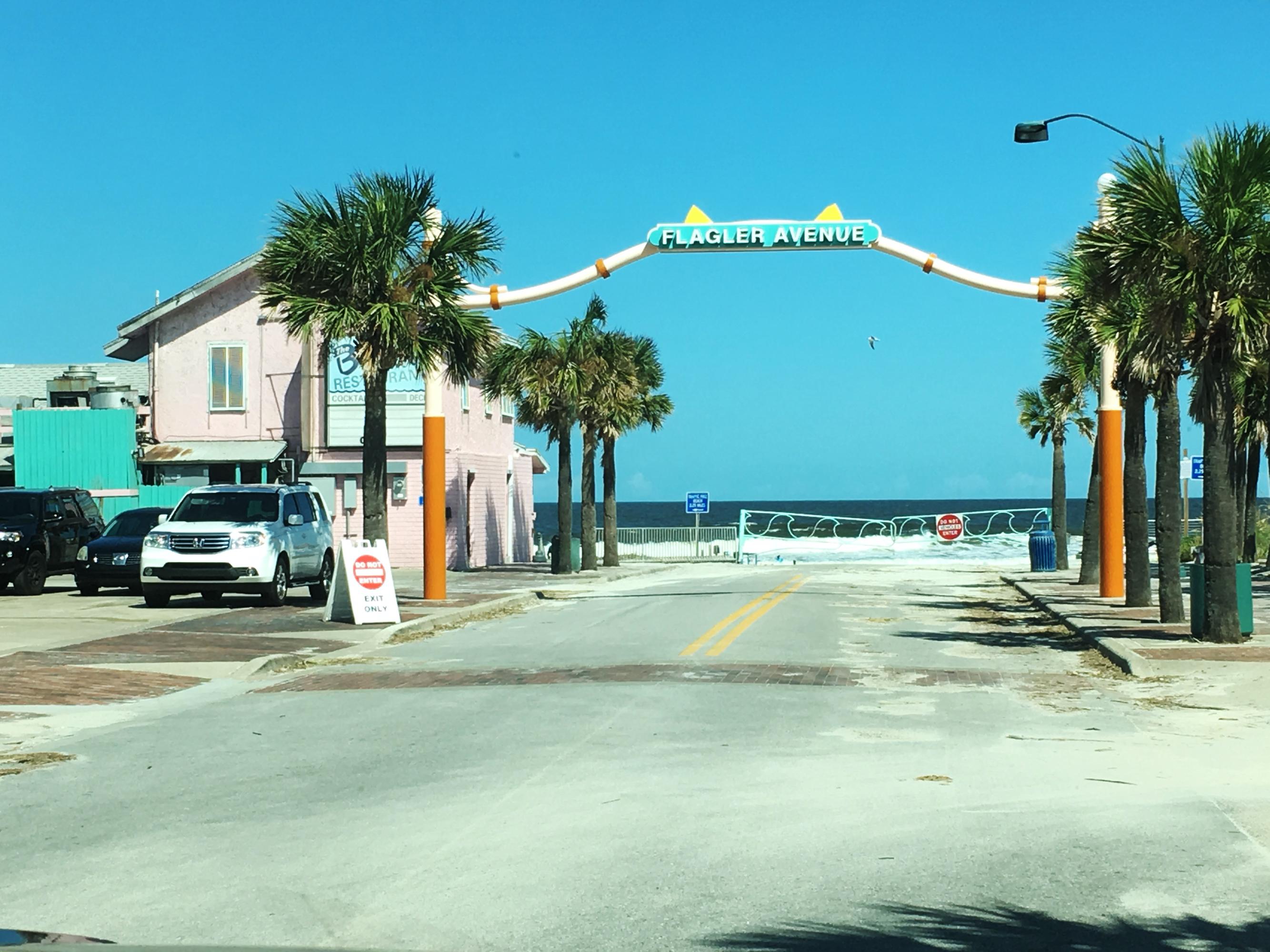 Flagler Ave beach ramp sign and Breakers Restaurant