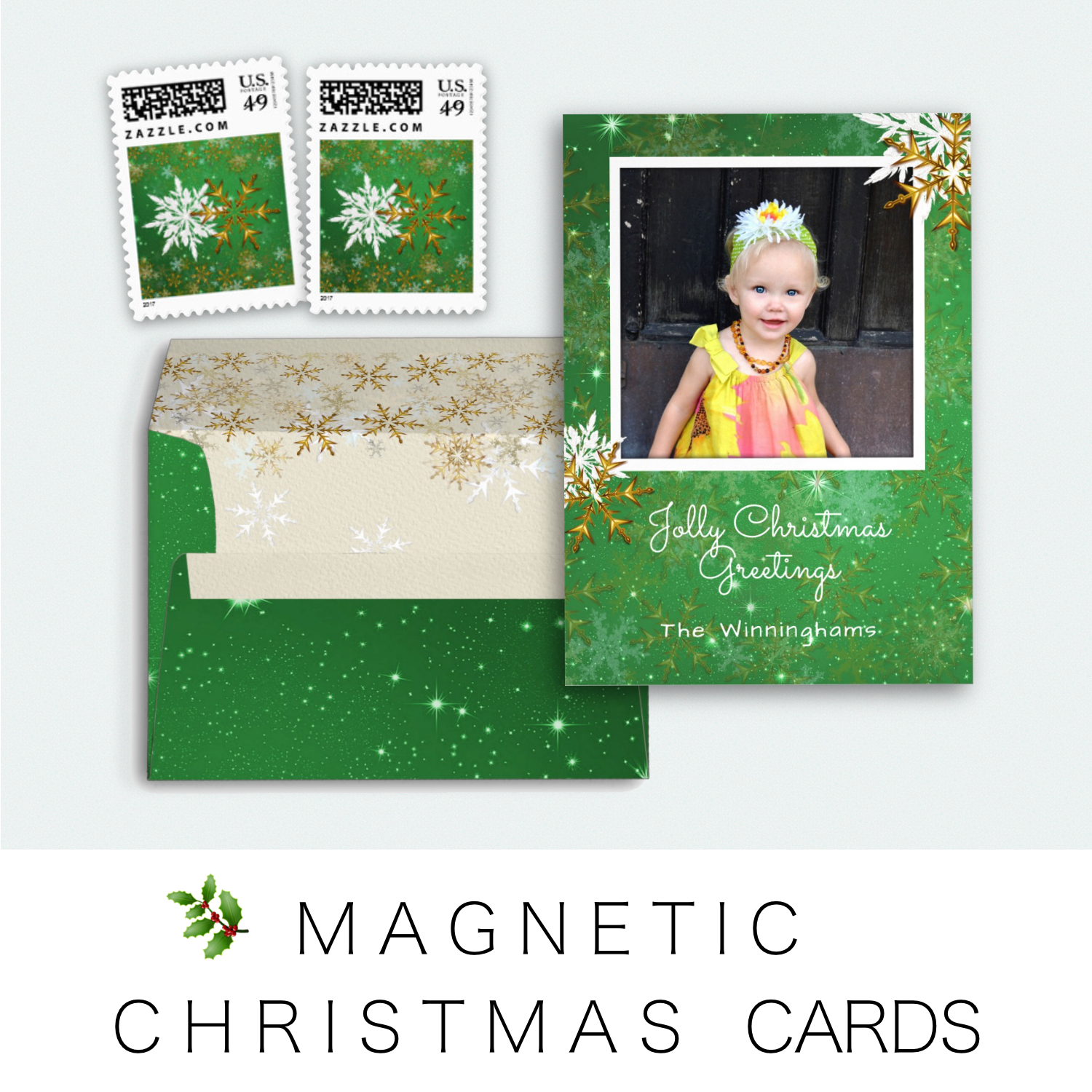 Magnetic photo christmas cards