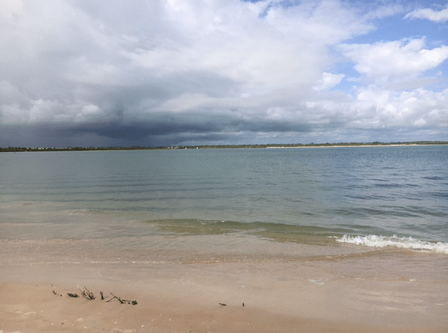 dark clouds at beach
