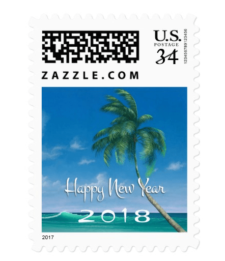 tropical happy new year custom postage stamps