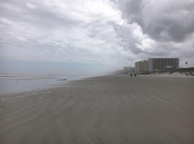 Walking south on New Smyrna Beach near 27th ave. entrance