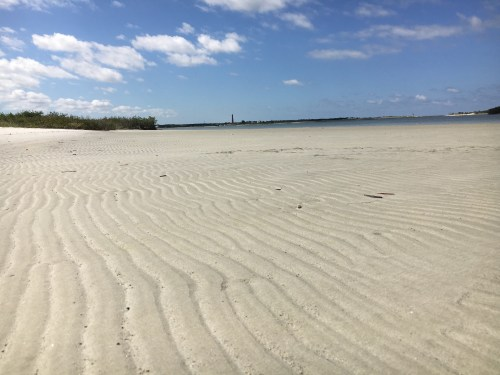 Ripples in the sand at low tide along an island near the Ponce Inlet in New Smyrna Beach