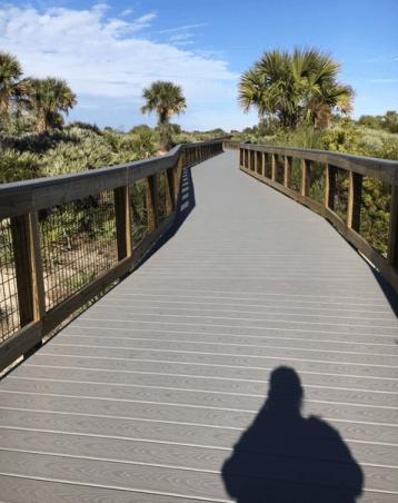The boardwalk beckons at Smyrna Dunes Park in January