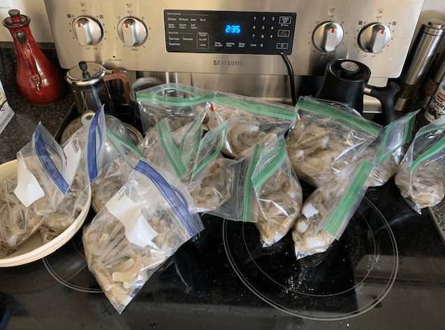 Fresh caught shrimp bagged to freeze