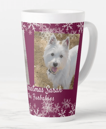 Pet photos gift mug maroon wine Christmas snowflakes templates from fur babies tall latte personalized