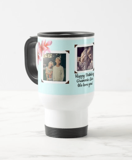 Photo travel mug family gift special occasion birthday plumeria flowers light blue three pictures
