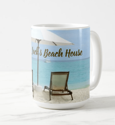 Personalized beach house mug with chairs in the sand umbrella seacoast welcome family name