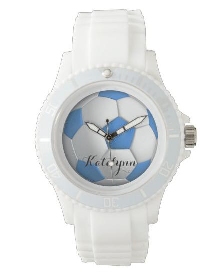 soccer ball wristwatch girls sports theme blue white custom bands