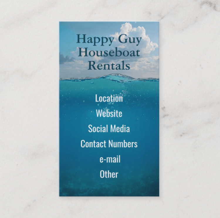 Coastal or marine business cards are tall with blue water