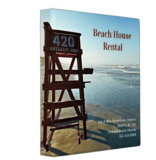 Lifeguard chair edge of sea beach house rental binder