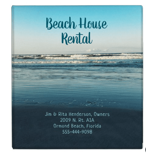 Ocean scene beach house property rental binder