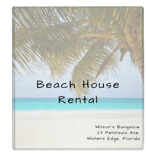 Palm tree ocean view beach house rental binder for guests or management