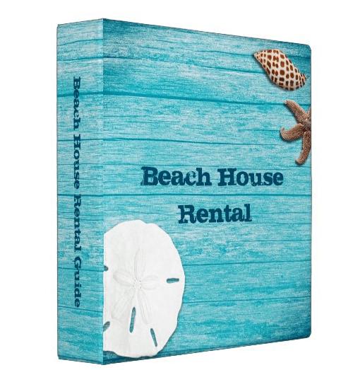 Blue wood seashells binder beach house rental custom title rustic property management