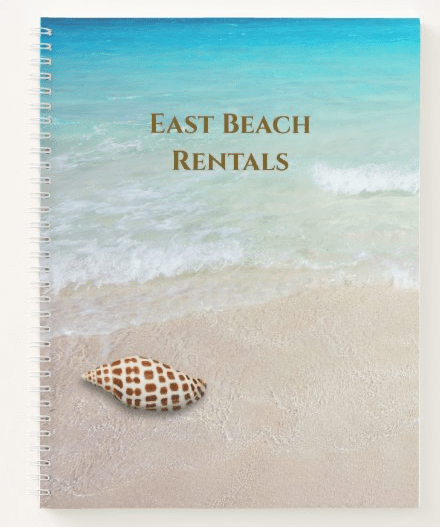 Beach scene notebook with seashell junonia tropical rental property custom title text spiral bound