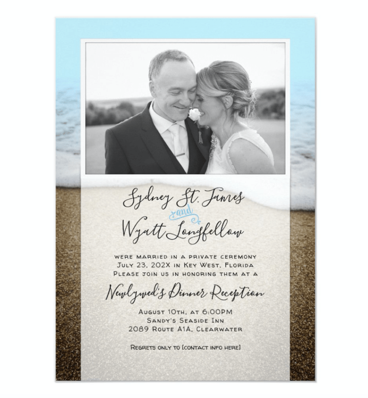 Beach background invitation to reception only photo template newlyweds reception only elegant template