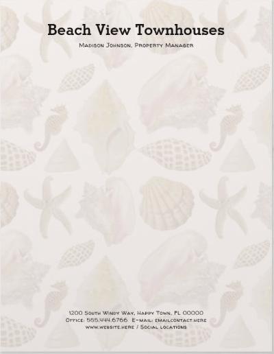 Seashell background letterhead for a coastal business
