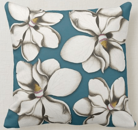 Southern magnolia flowers throw pillow white floral bold design colonial blue