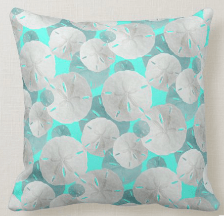 Tropical blue sand dollar pattern pillow beach house decor square indoor outdoor fabric selections