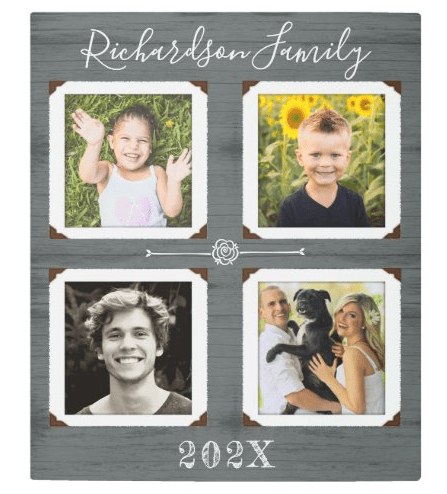 Metal wall hanging photo display four pictures family kids dated name wood woodgrain large