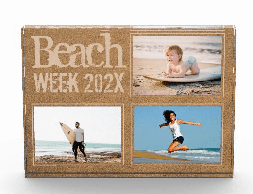 Standing photo frame three templates for pictures custom text memories vacation travels small size
