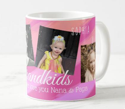Grandkids coffee mug pink purple names custom saying grands grandchildren gifts four pictures