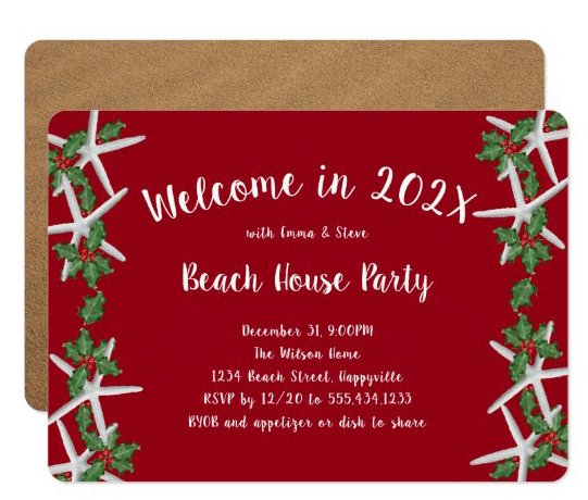 Seacoast starfish New Year's Eve party invitation template starfish holly red white text