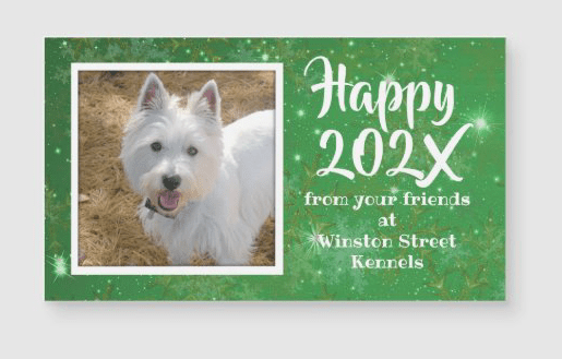 Green twinkling stars photo personal or business new year's greeting card