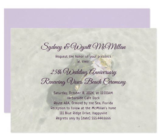 Living seashell conch invitation template for anniversary celebration vow renewal recommitment ceremony by the sea