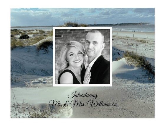 Beach sand dunes background photo marriage announcement private ceremony introducing newlywed couple reception only