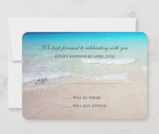 Beach scene simple RSVP cards custom lines of text enclosure