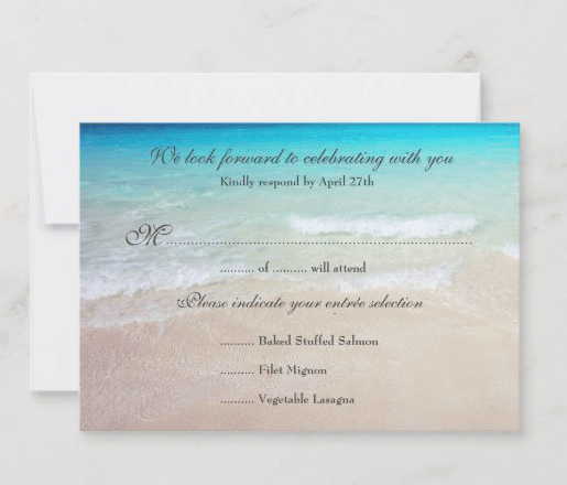 Menu reply cards beach scene blue water beach sand entrees meals number of guests enclosure