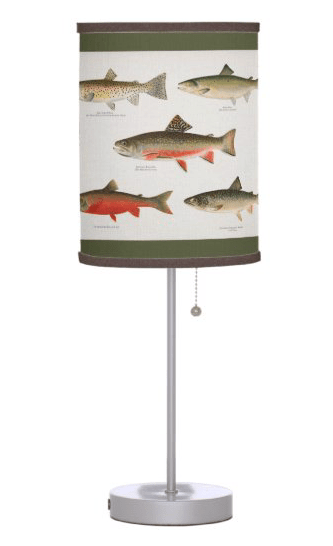 Fish lampshade table lamp freshwater trout