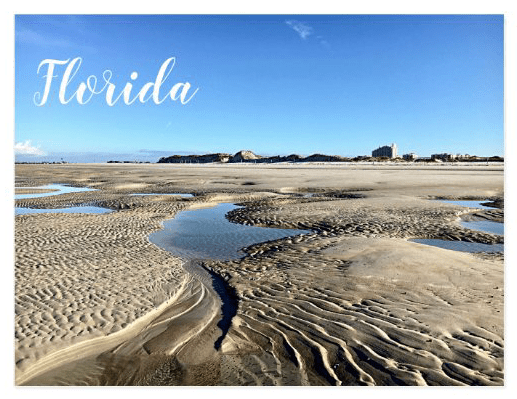 Florida low tide sand photography postcard