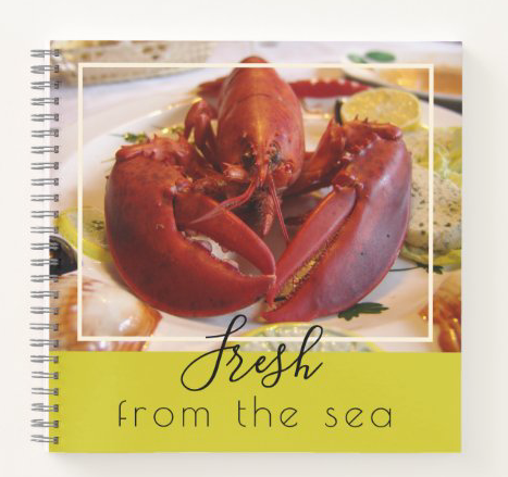 Lobster spiral notebook personal recipes blank inside custom text seafood chef spiral bound small size