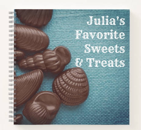 Personal recipes sweets desserts treats blank pages spiral bound cook chocolate seashells