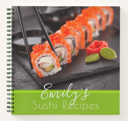 Sushi photo personal recipe book personalized name title spiral bound small size blank pages
