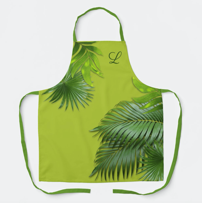 Apron green palm fronds monogram initial