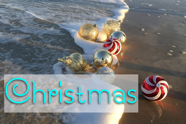 Beach Christmas ornaments, cards, parties