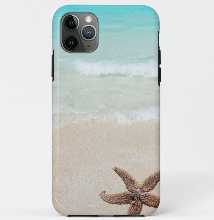Starfish and beach scene iPhone case