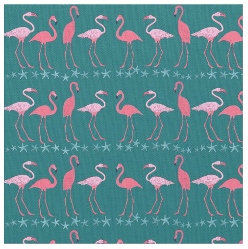 Flamingos teal fabric starfish stripes pattern tropical custom colors beach decor sewing crafts quilting