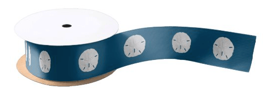 Thin sand dollar ribbon white navy blue pattern line beach decorating bow making seashells beach shells