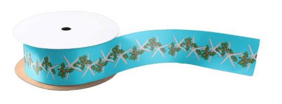 Starfish Christmas ribbon holly swag pattern tropical aqua blue beach theme sea stars coastal design wrapping gifts