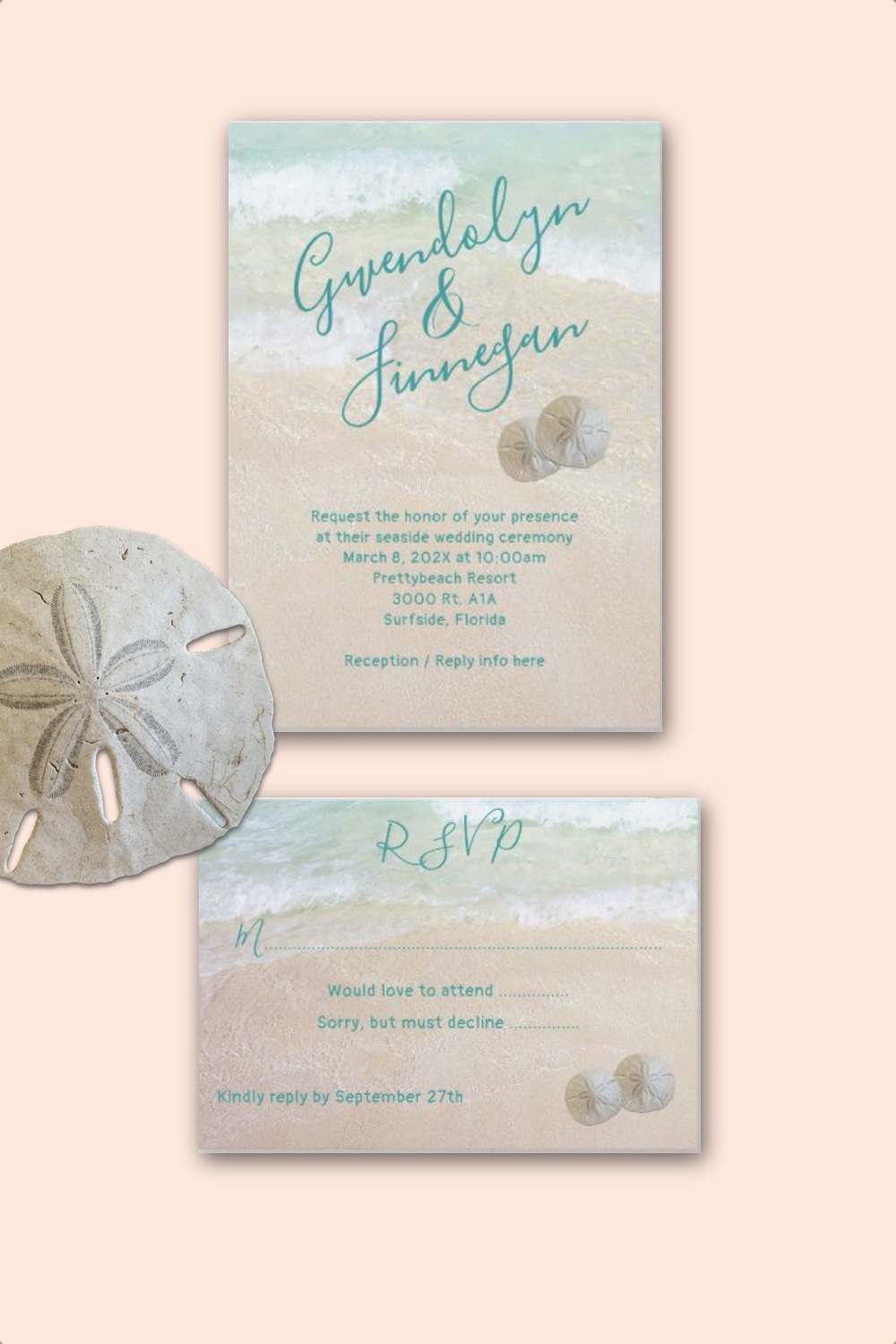 Two sand dollars enclosure cards