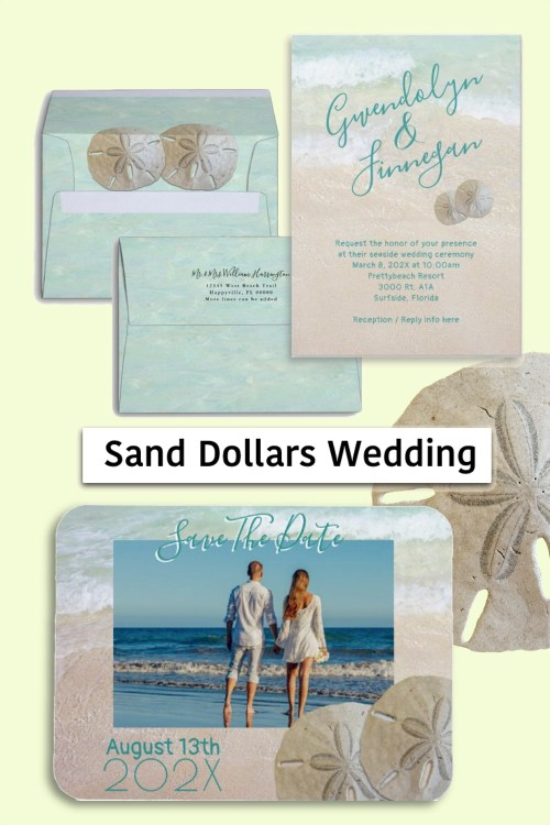 Two sand dollars wedding stationery set save the date invitations beach theme