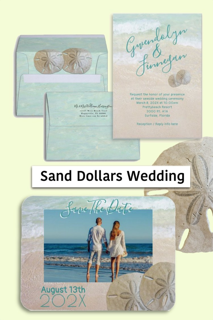 Two sand dollars wedding stationery set