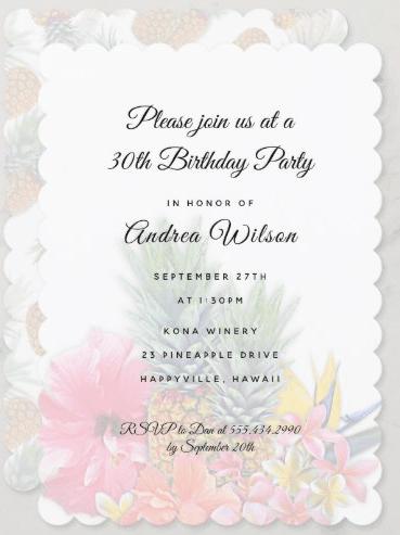 Woman's birthday party invitation Hawaiian theme pineapples tropical flowers hibiscus plumeria pink scalloped edge feminine